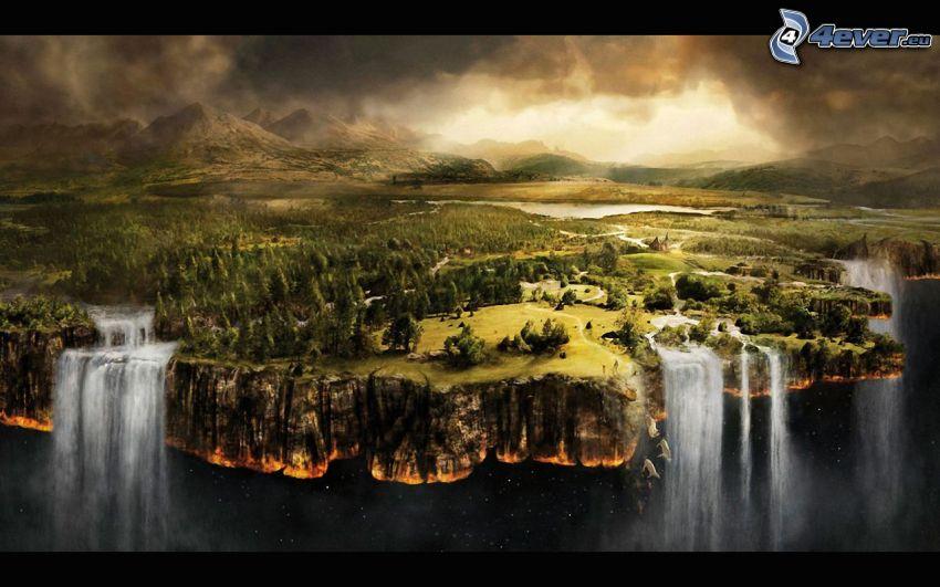 fine del mondo, cascate, paesaggio, bosco di conifere