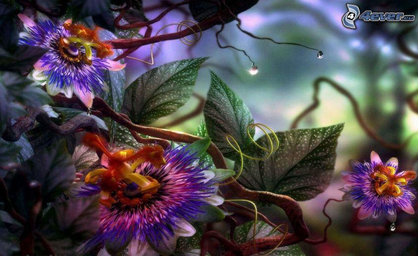 fiori digitali, fantasy, foresta pluviale