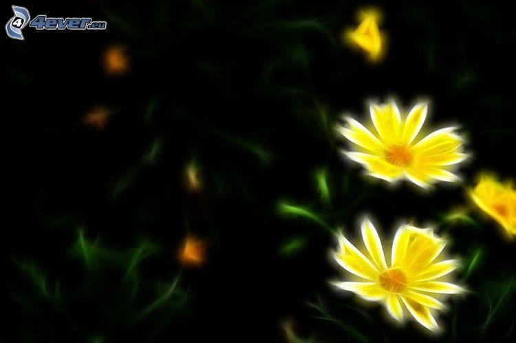 fiori gialli, frattale