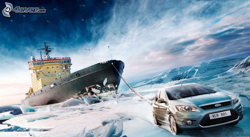 Ford, nave, rompighiaccio, neve, ghiaccio