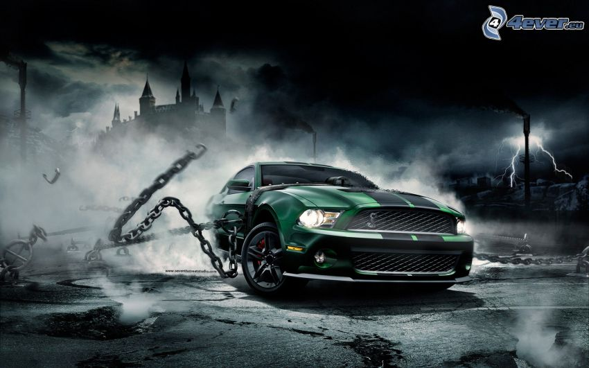 Ford Mustang, catena, fulmini, castello