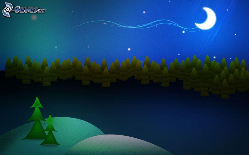 foresta notturna, luna, stelle