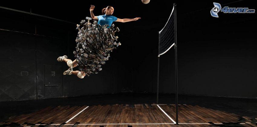 giocatrice di pallavolo, martello, rete