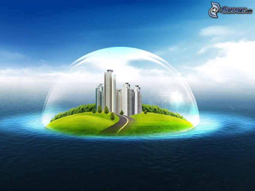 isola, mare, grattacieli, bolla