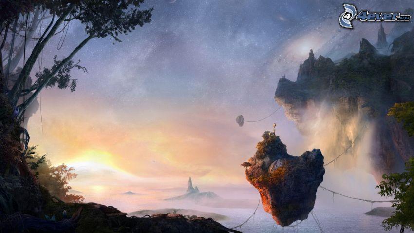 isola volante, roccia