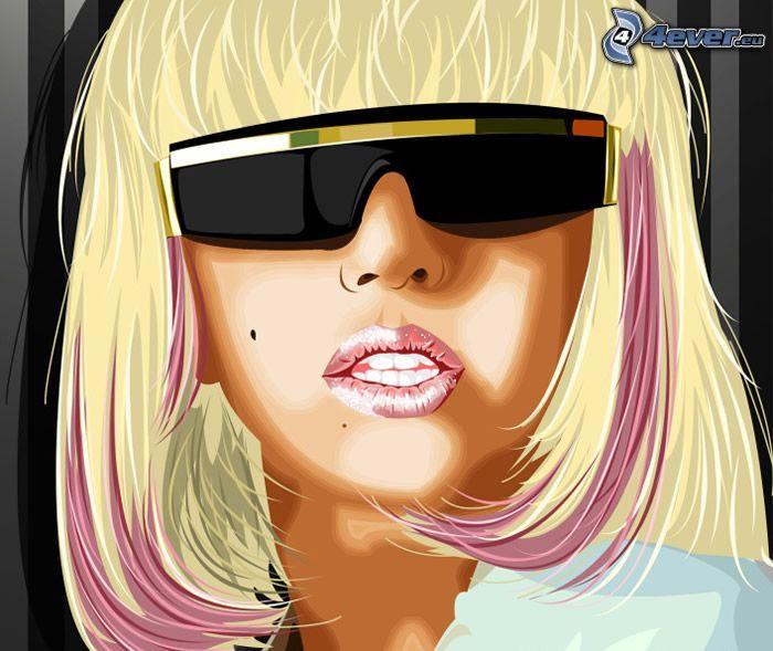 Lady Gaga, bionda, occhiali da sole