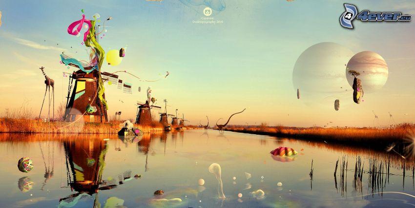 lago, mulino a vento, giraffa, dinosauri, isola volante, pianeti