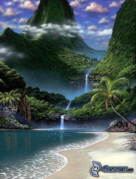 Lago nel bosco, foresta pluviale, ruscello, cascate