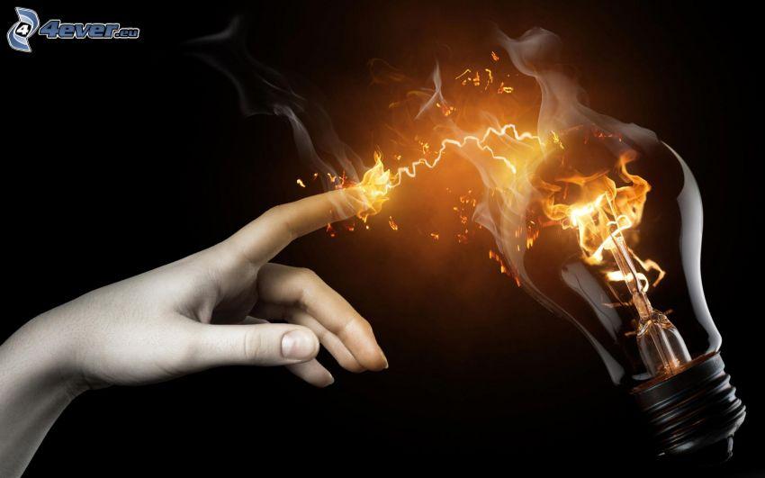 lampadina, mano, fuoco, fumo
