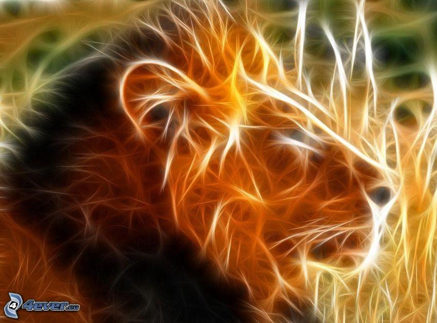 leone frattale, frattali di animali