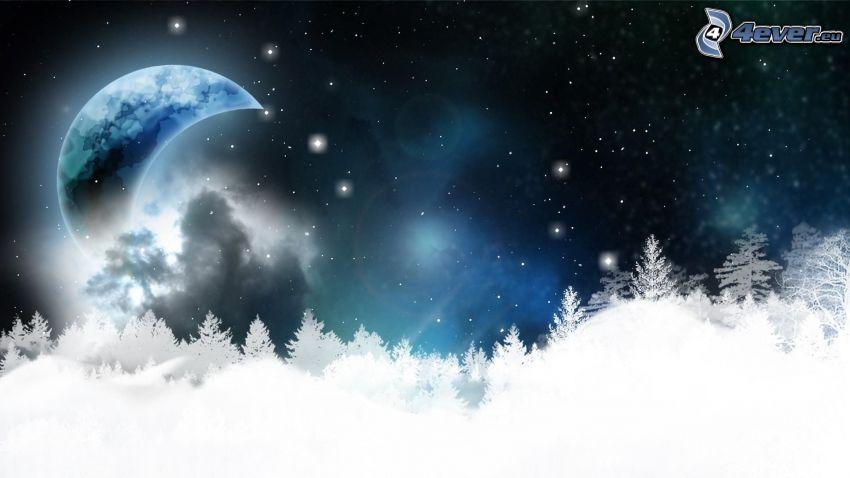 luna, alberi coperti di neve, notte