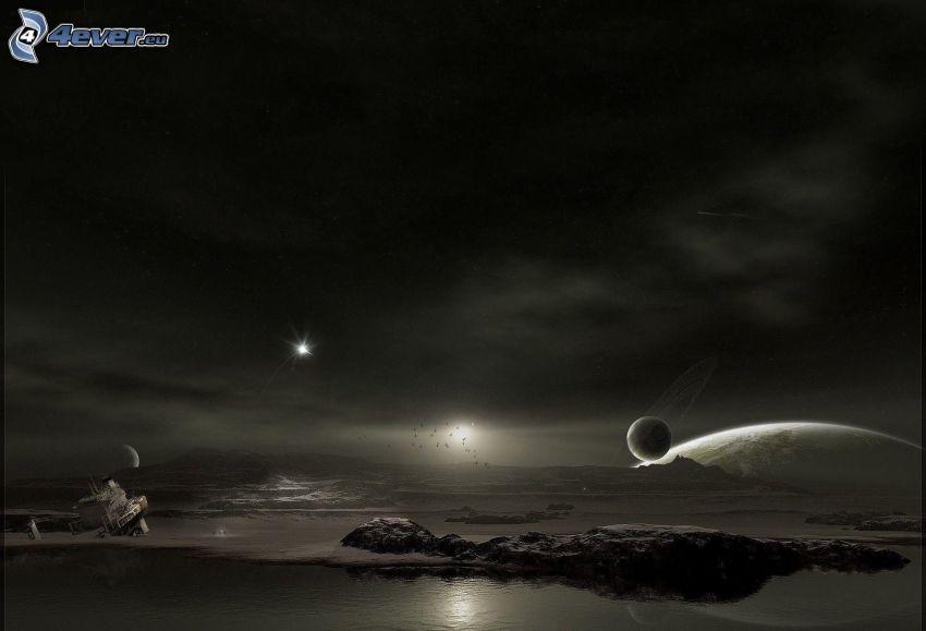 mare, pianeti, sole, bianco e nero