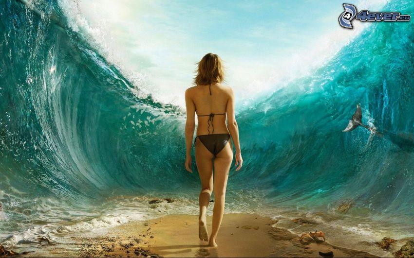 mare diviso in due, donna in bikini, onda, sabbia, natatoia