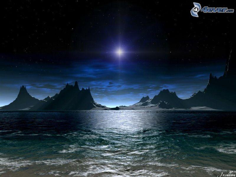 mare oscuro, stella, notte, montagna