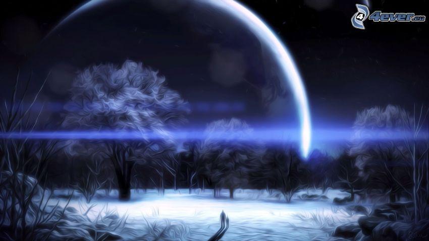 notte, pianeta, alberi