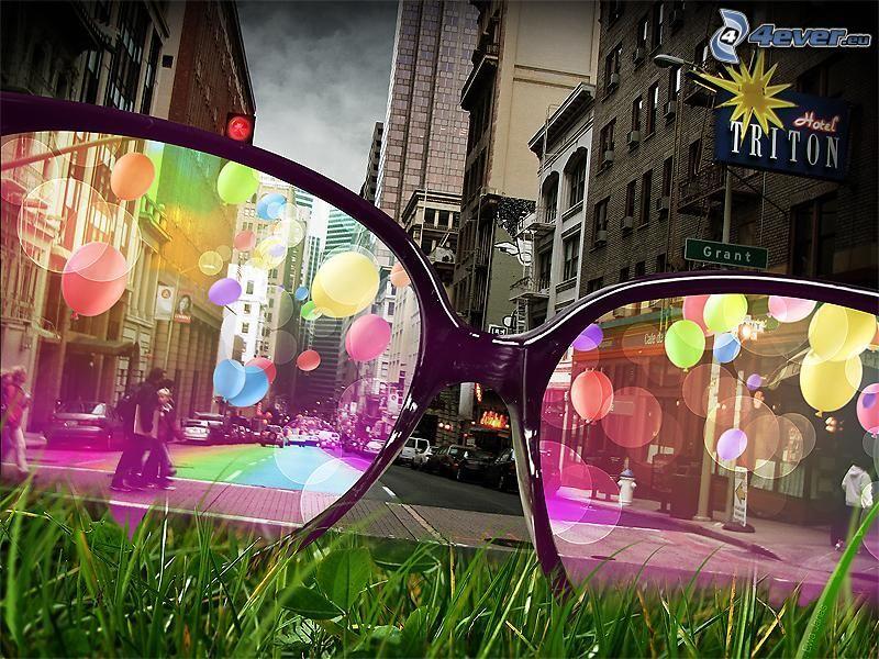 occhiali rosa, strada, colori, città
