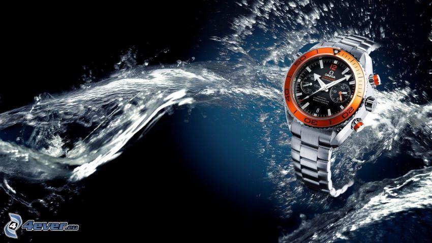 orologio, getto d'acqua