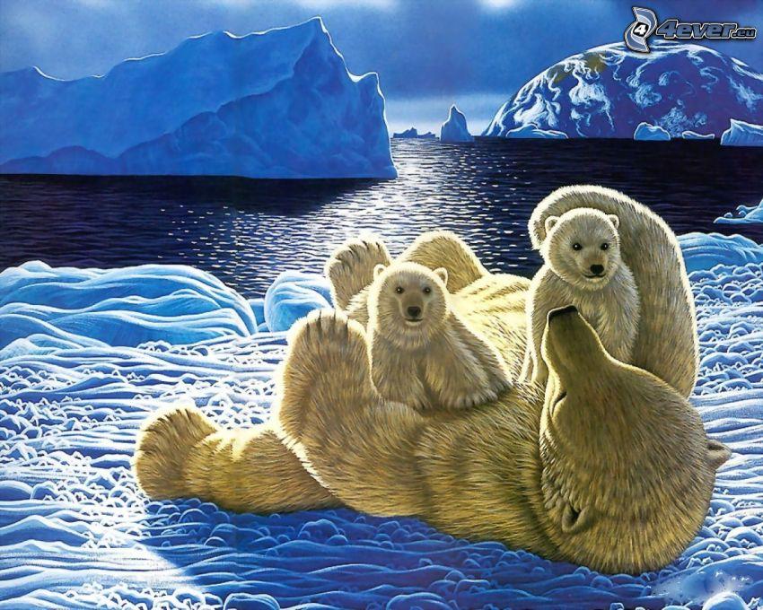 orsacchiotti animati, orsi polari, ghiaccio, oceano, lastra di ghiaccio