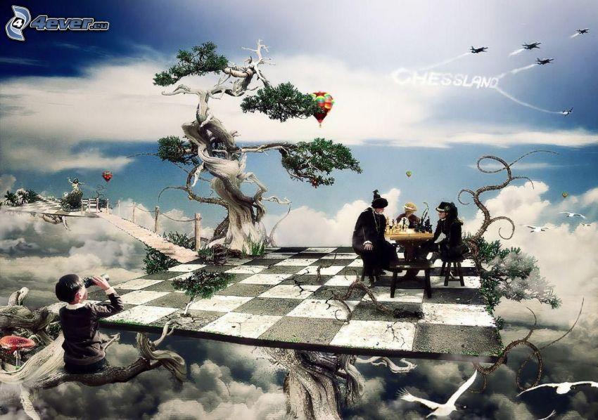 paesaggio dipinto, scacchiera, gente