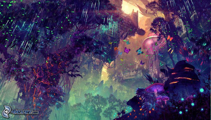 paesaggio fantasy, alberi colorati, farfalle colorate, luci