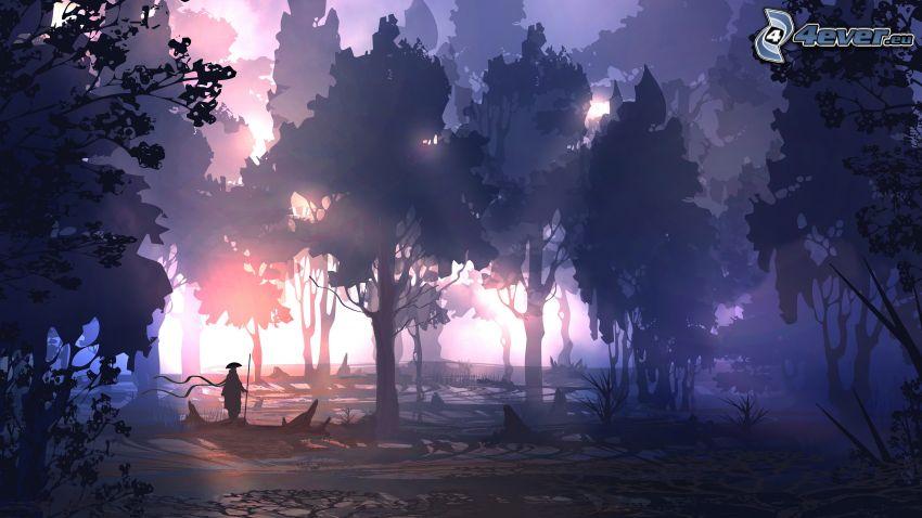 paesaggio fantasy, silhouette di una foresta, siluetta di un uomo, raggi del sole
