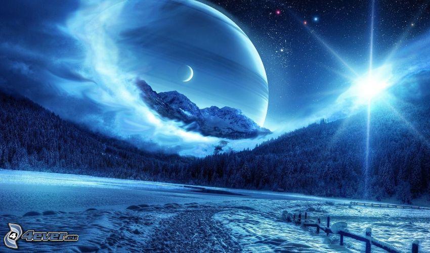 paesaggio innevato, montagne, luna, sole, pianeta
