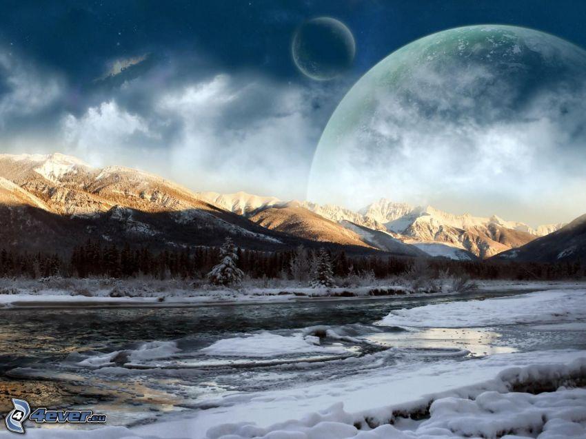 paesaggio invernale, luna, pianeti