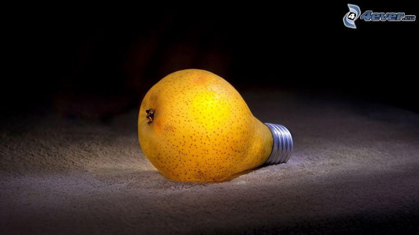 pera, lampadina