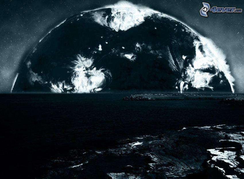 pianeta, mare, stelle