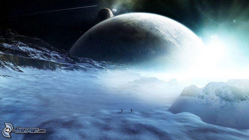 pianeti, nuvole, montagna