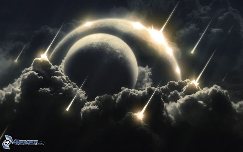 pianeti, nuvole scure, collisione nello spazio