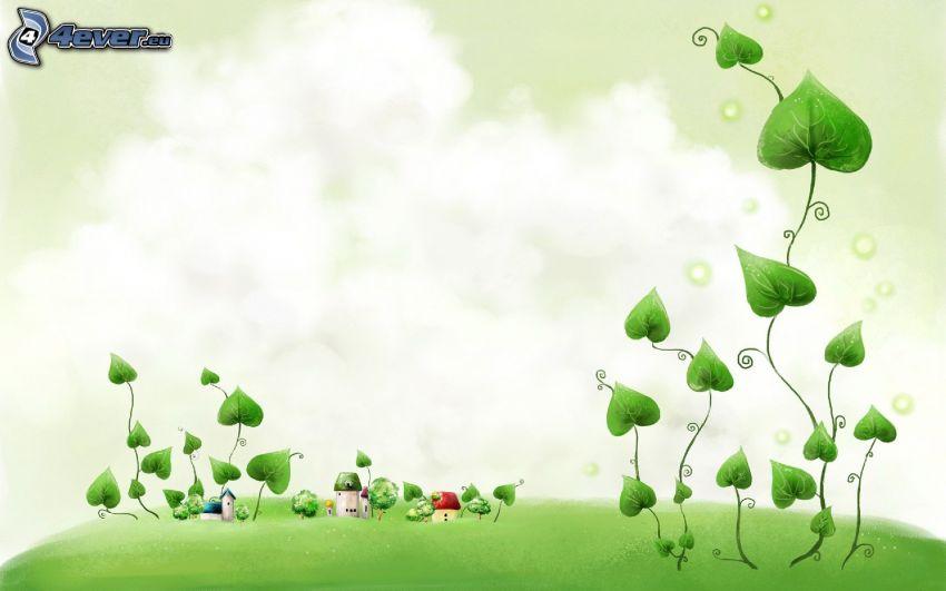 piante, piccole case