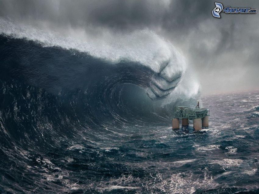 piattaforma petrolifera, Mare in tempesta, onda, mano