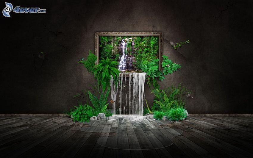 pittura, cascata, verde