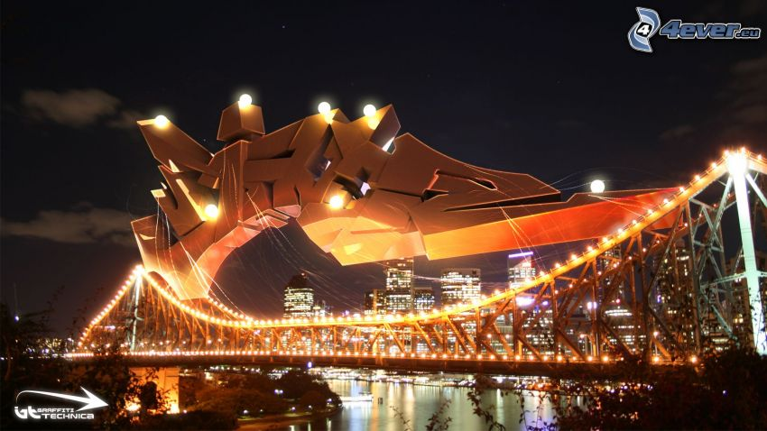 ponte illuminato, graffitismo, notte