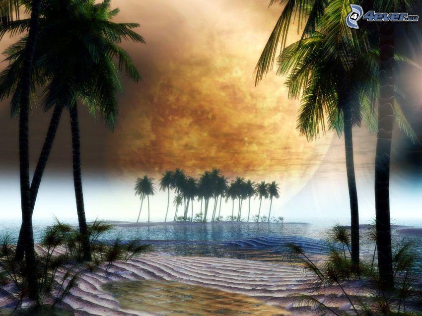 sci-fi paesaggio, palma, pianeta, dune