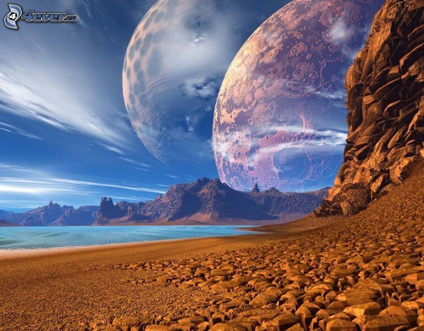 sci-fi paesaggio, pianeti