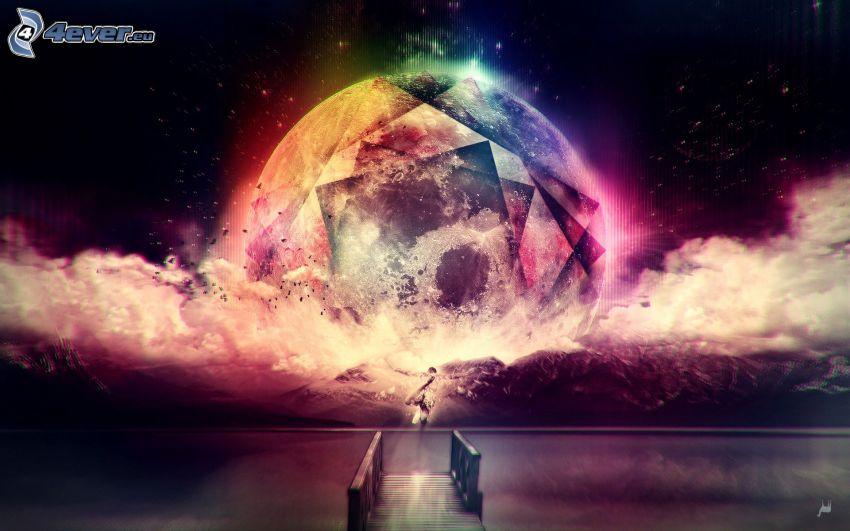sfera astratta, colori, molo di legno