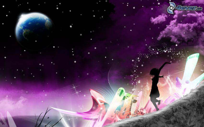 silhouette di una ragazza, pianeta Terra, cielo stellato, astratto