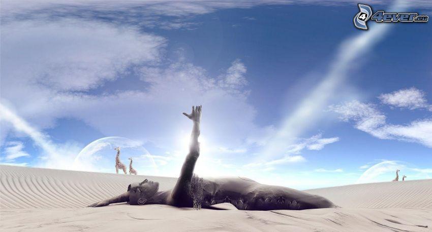 statua, deserto, giraffe