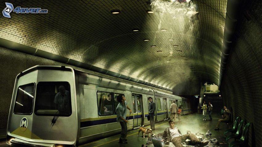 stazione del metro, gente, acqua