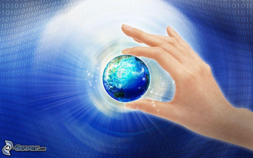 Terra, mano, sfondo blu