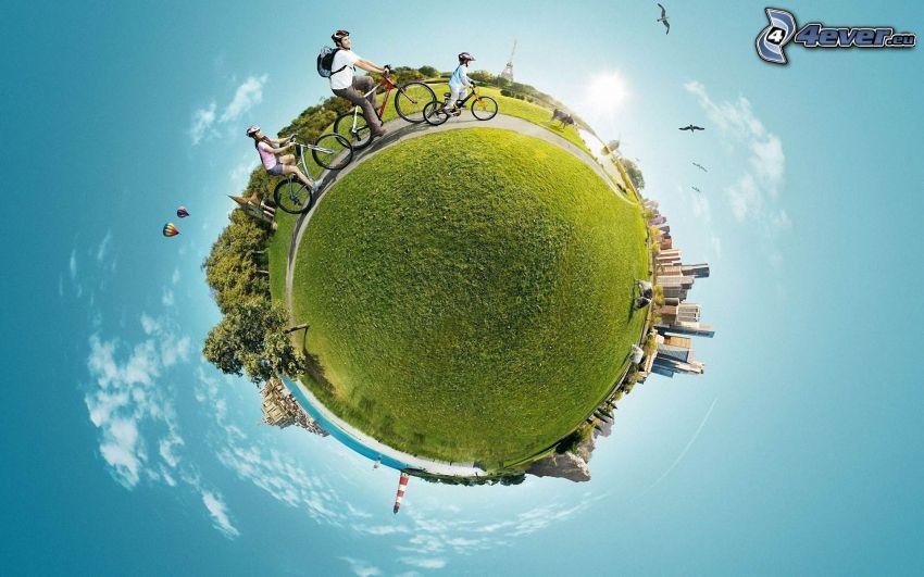 Terra, miniatura, ciclisti, palla