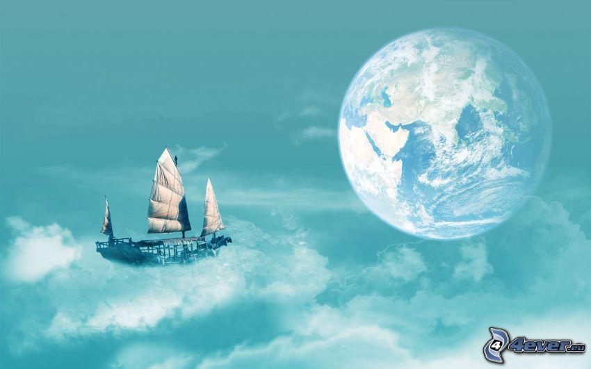 Terra, nave, nuvole, barca a vela