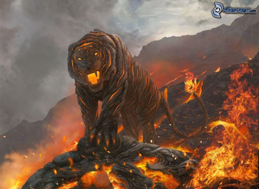 tigre, fuoco, lava