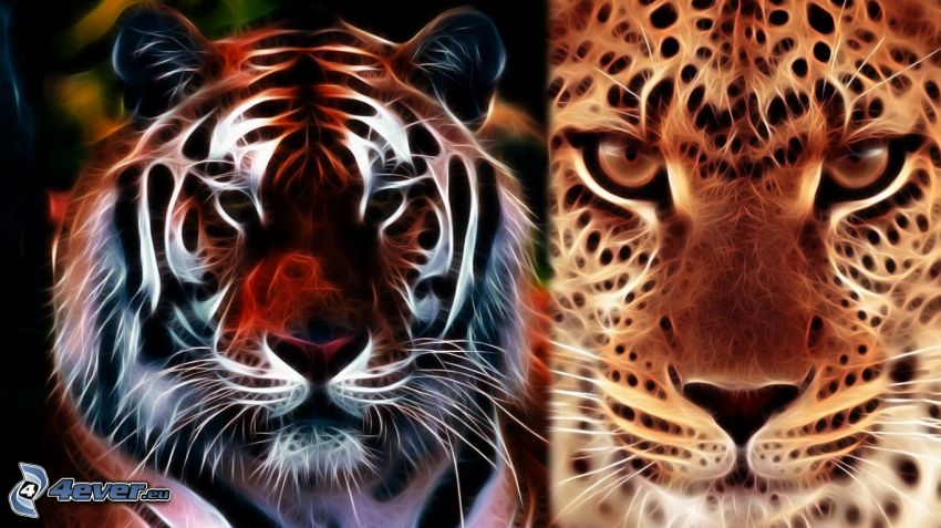 tigre frattale, leopardo frattale