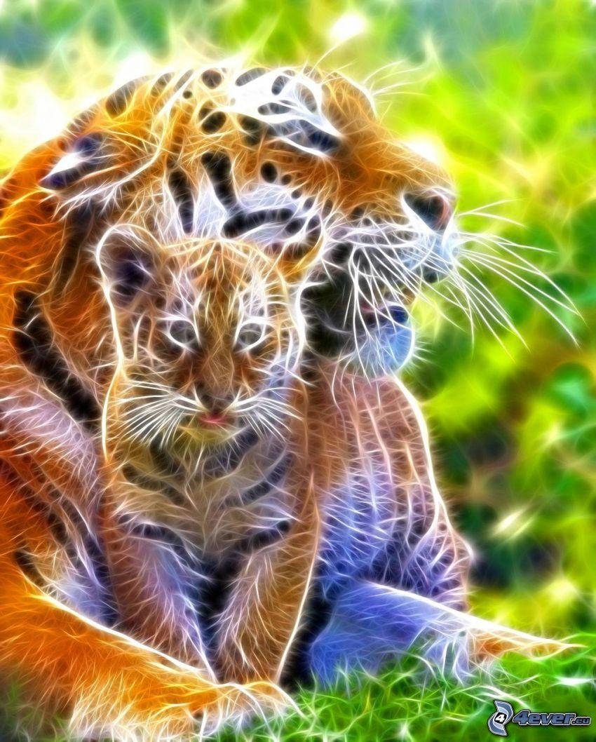 tigre frattale, tigri piccoli