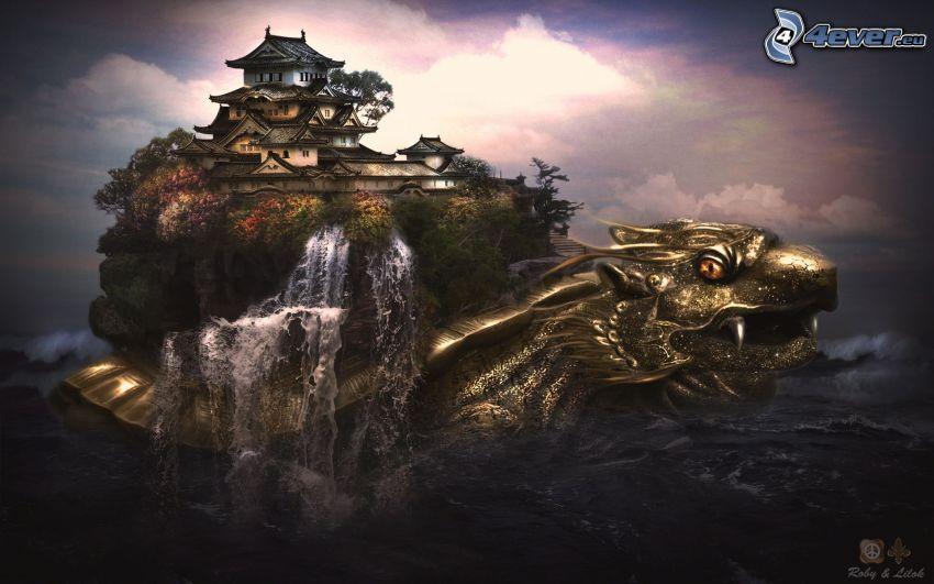 un dragone acquoso, isola, pagoda cinese