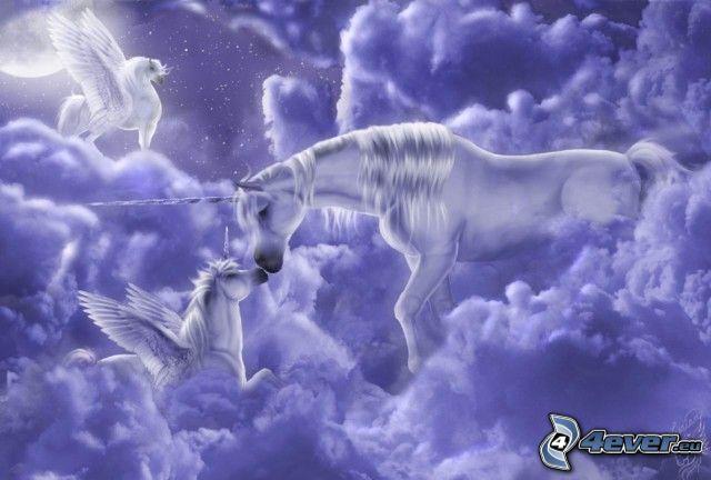 unicorni, disegno, nuvola