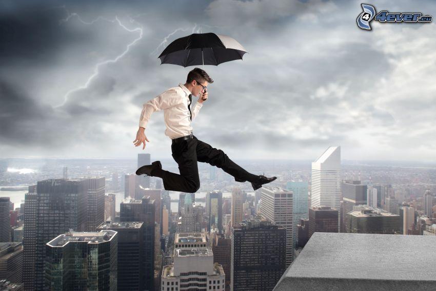 uomo in abito, ombrello, salto, grattacieli, tetto